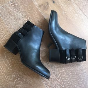 NIB H by Hudson Black Leather Buckle Ankle Boots 8